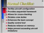 normal checklist