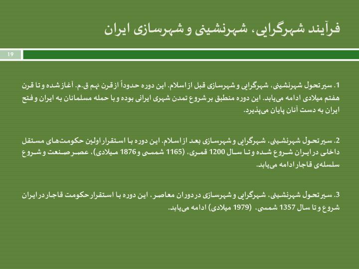 فرآیند شهرگرایی، شهرنشینی و شهرسازی ایران