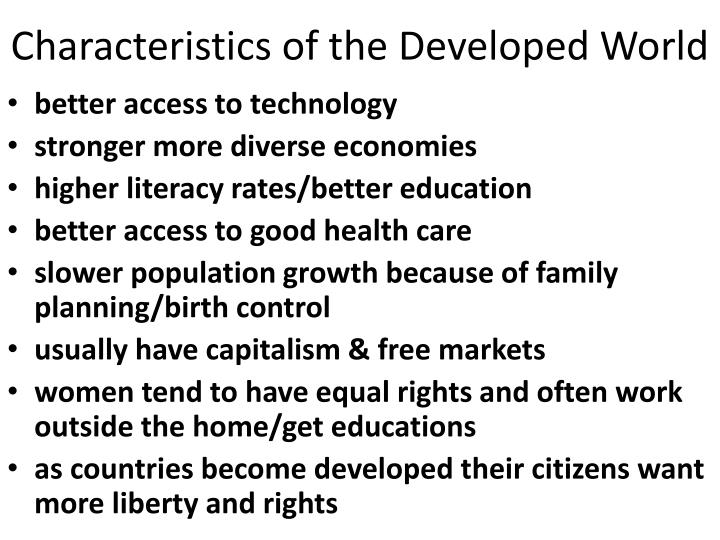 Characteristics of the Developed World