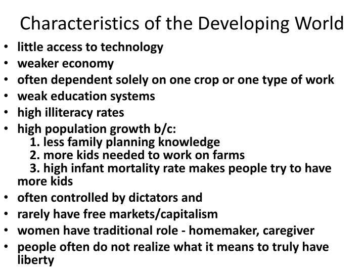 Characteristics of the Developing World