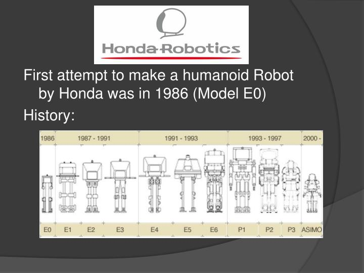 First attempt to make a humanoid Robot by Honda was in 1986 (Model E0)