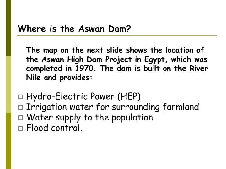 Where is the Aswan Dam?