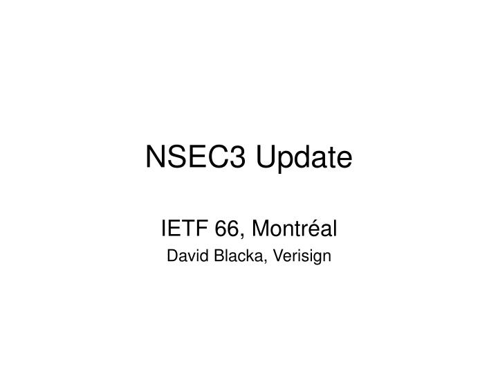 Nsec3 update