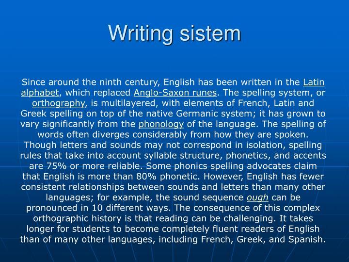 Writing sistem