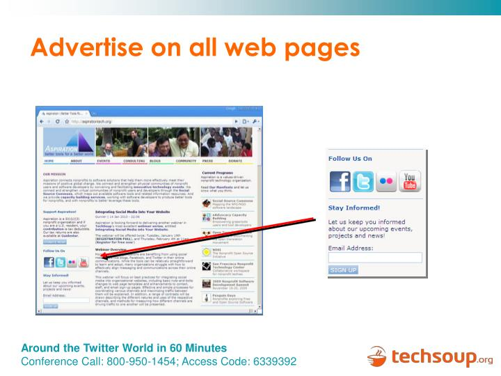 Advertise on all web pages