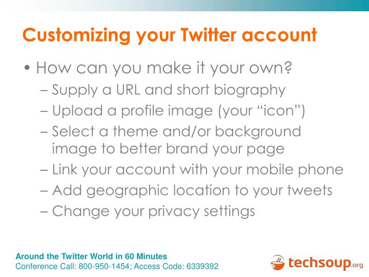 Customizing your Twitter account