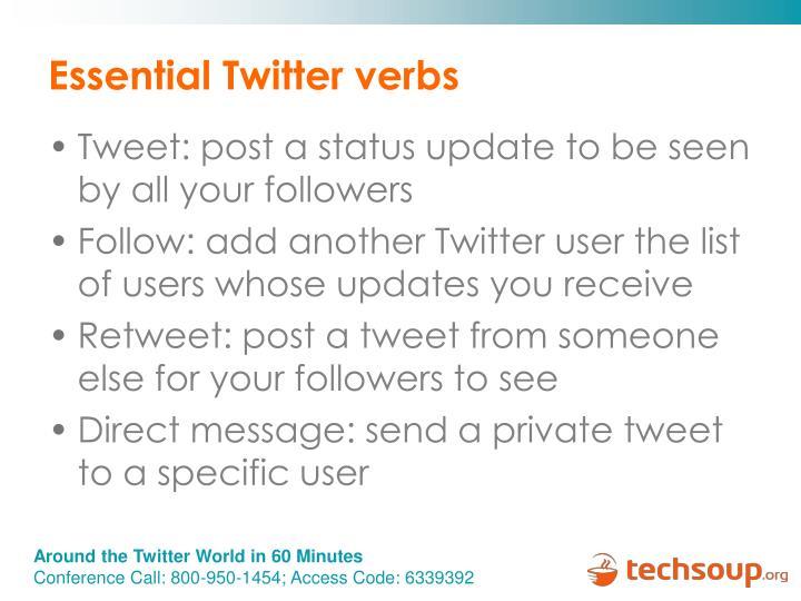 Essential Twitter verbs