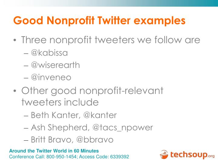 Good Nonprofit Twitter examples