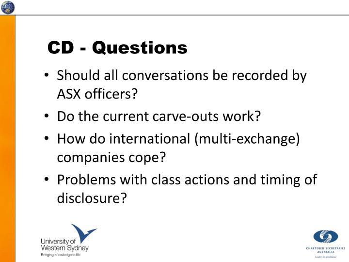 CD - Questions