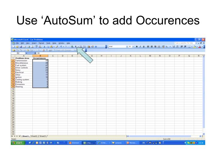 Use 'AutoSum' to add Occurences