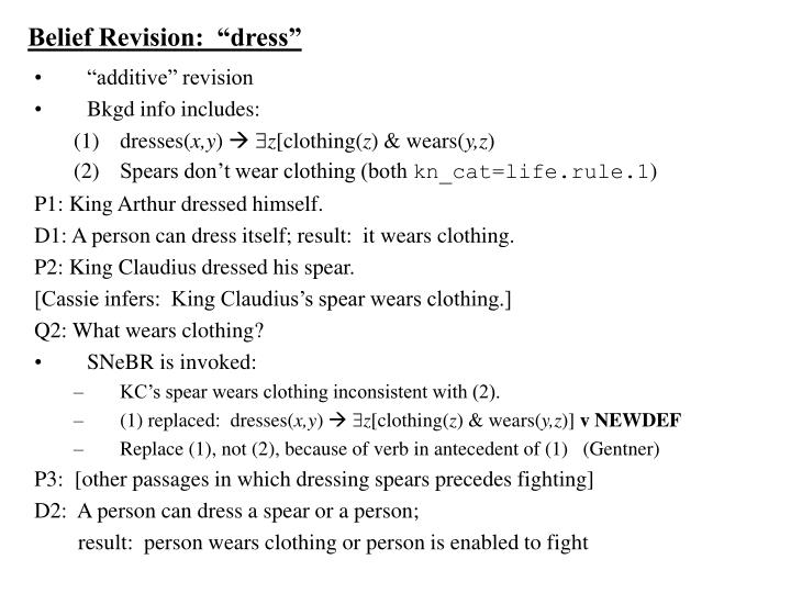 "Belief Revision:  ""dress"""