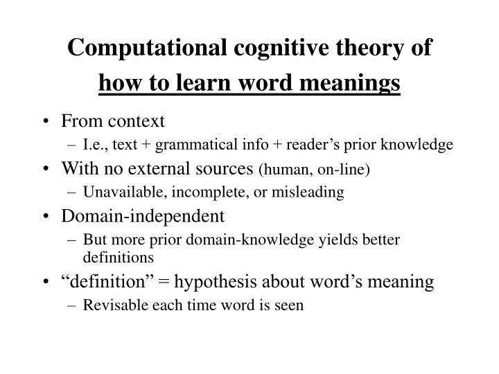 Computational cognitive theory of