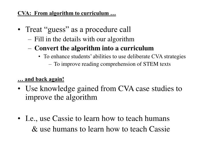 CVA:  From algorithm to curriculum …