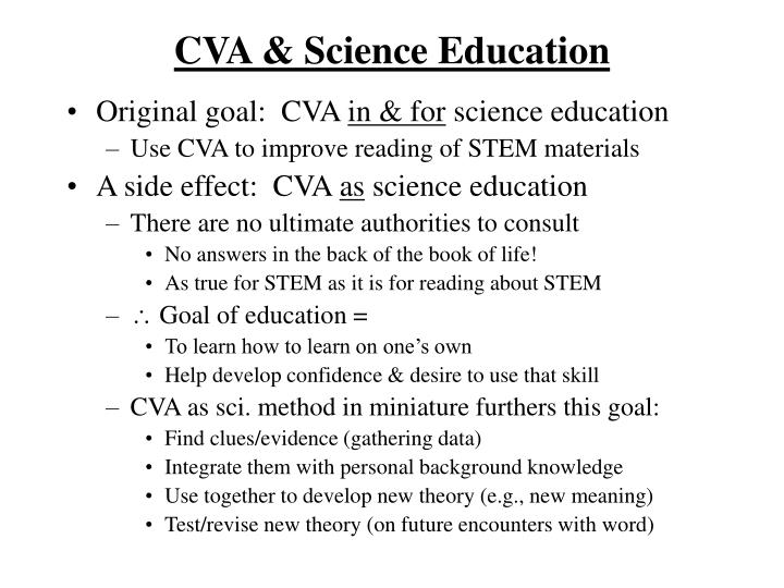 CVA & Science Education