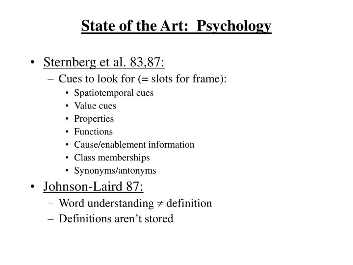 State of the Art:  Psychology