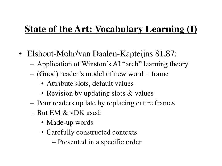 State of the Art: Vocabulary Learning (I)