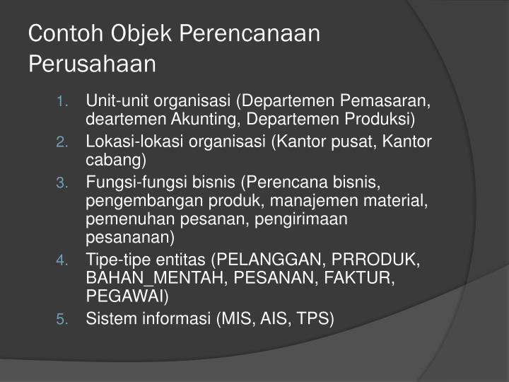 Contoh Objek Perencanaan Perusahaan