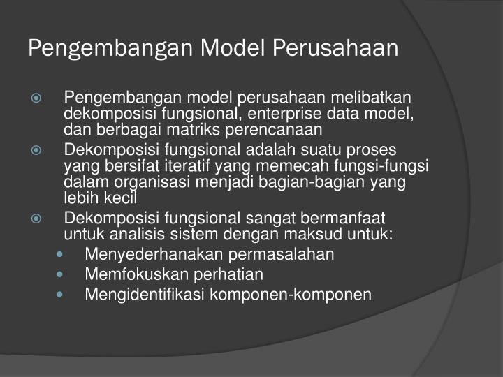 Pengembangan Model Perusahaan