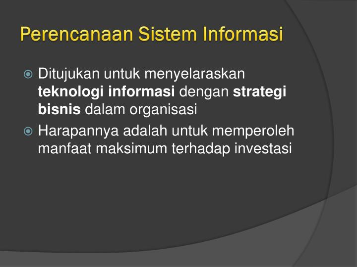 Perencanaan Sistem Informasi