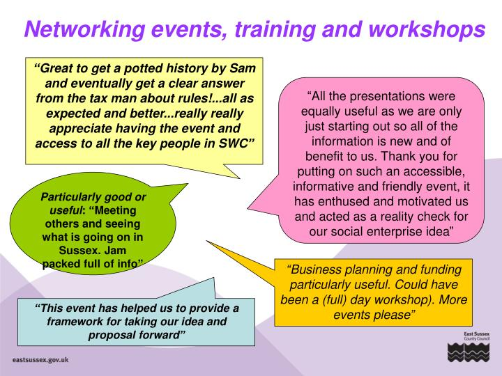 Networking events, training and workshops