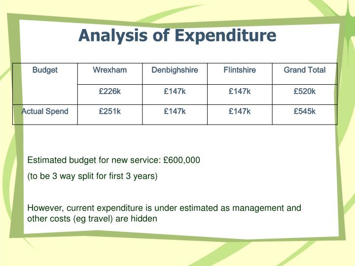 Analysis of Expenditure