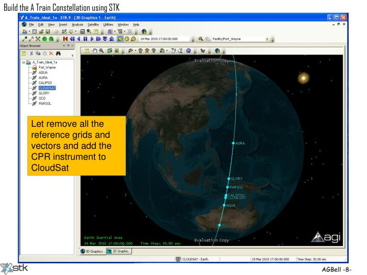 Let remove all the reference grids and vectors and add the CPR instrument to CloudSat