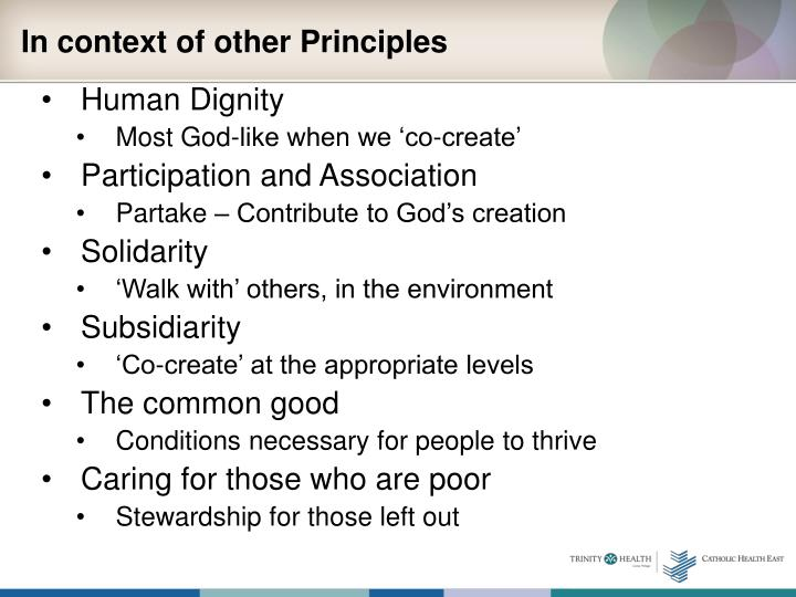 In context of other Principles