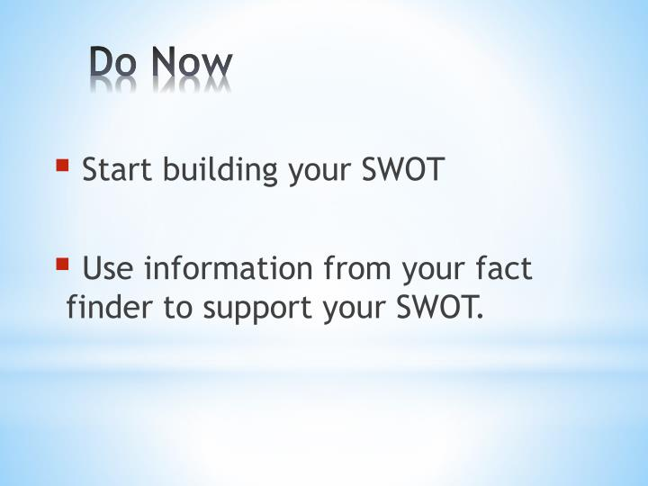 Start building your SWOT