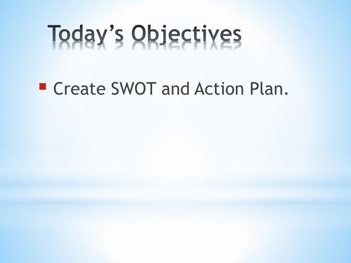 Create SWOT and Action Plan.