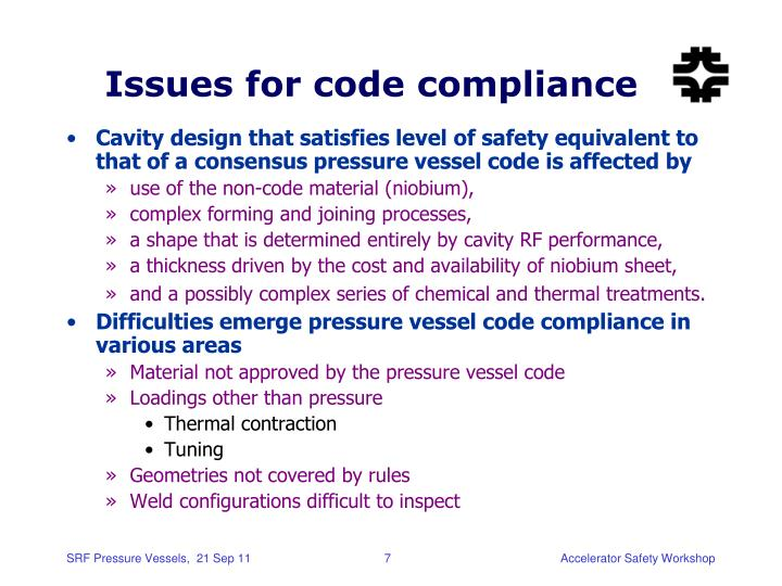 Issues for code compliance
