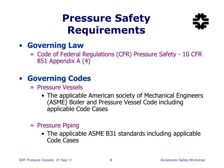 Pressure Safety Requirements