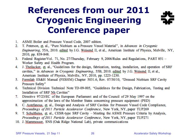 References from our 2011 Cryogenic Engineering Conference paper