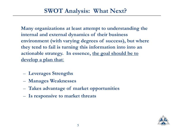 SWOT Analysis:  What Next?