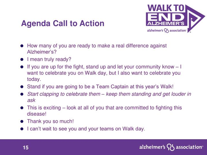 Agenda Call to Action