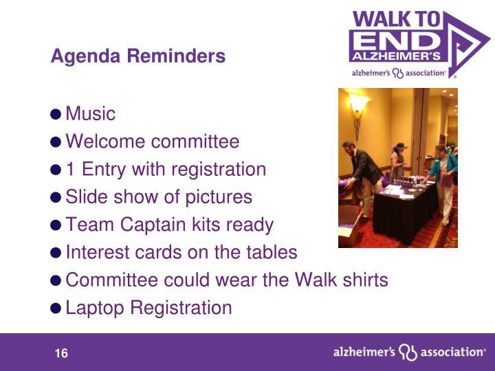 Agenda Reminders