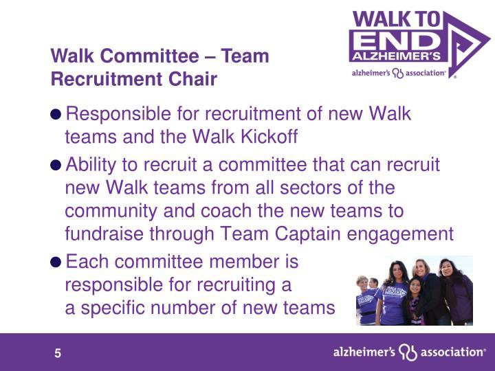 Walk Committee – Team            Recruitment Chair