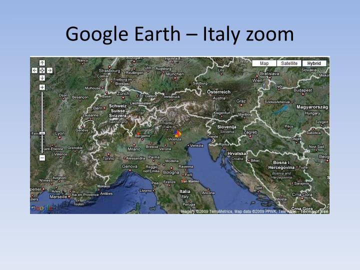 Google Earth – Italy zoom