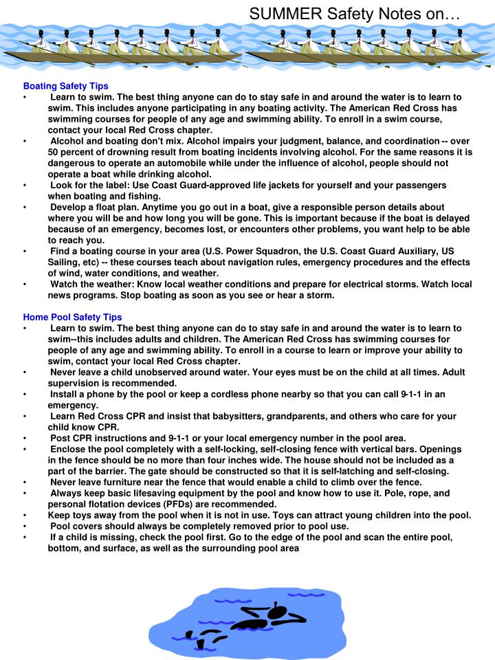 SUMMER Safety Notes on…