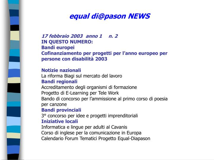 equal di@pason NEWS