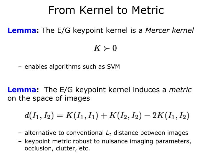 From Kernel to Metric