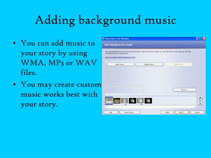 Adding background music