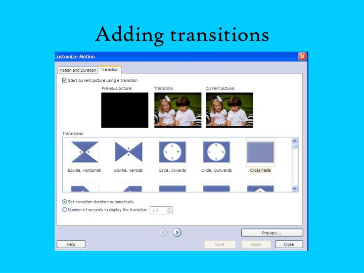 Adding transitions