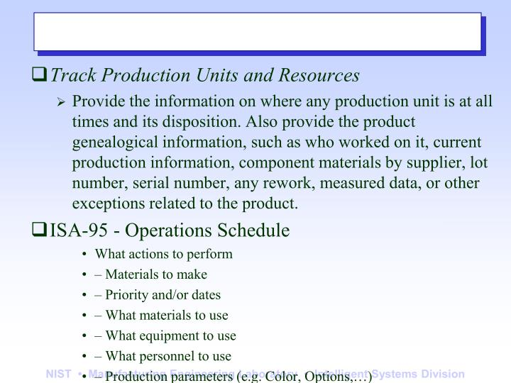 Track Production Units and Resources