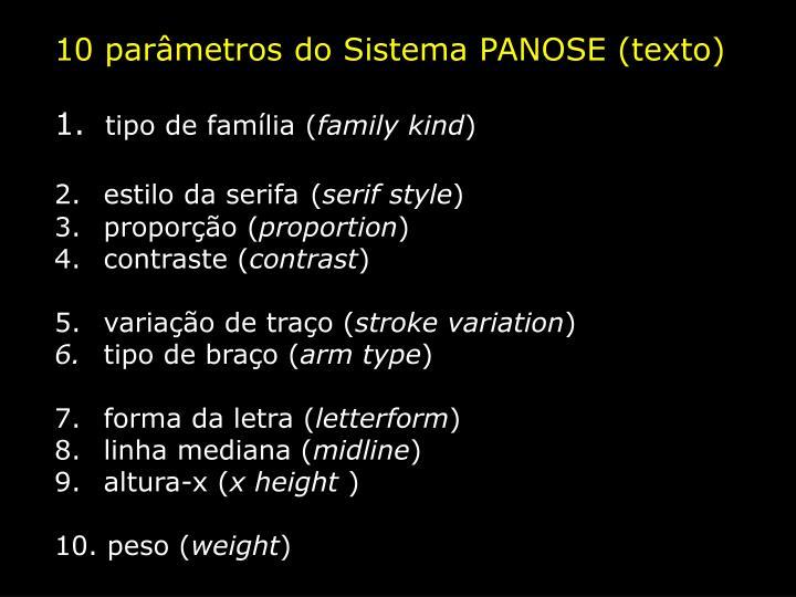 10 parâmetros do Sistema PANOSE (texto)