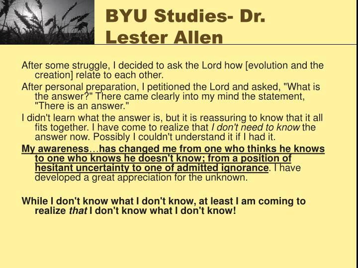 BYU Studies- Dr. Lester Allen