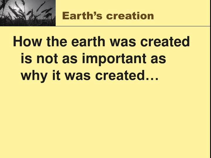 Earth's creation