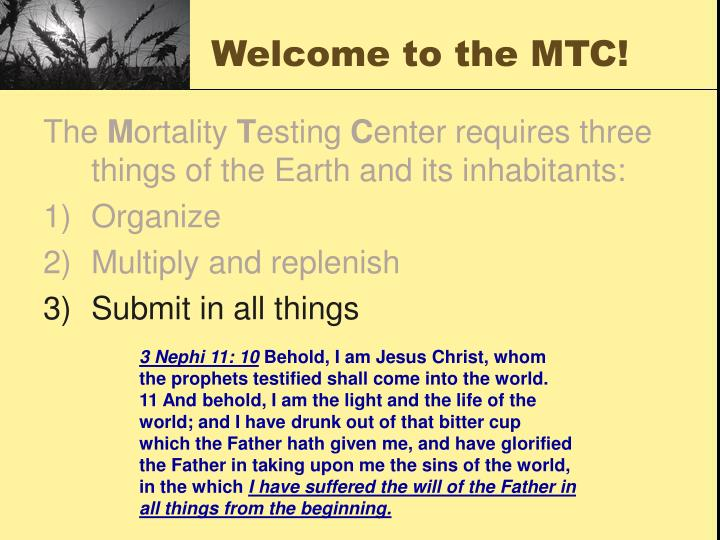 Welcome to the MTC!