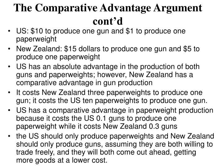 The Comparative Advantage Argument cont'd