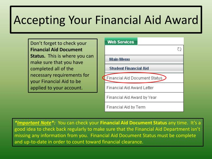 Accepting Your Financial Aid Award