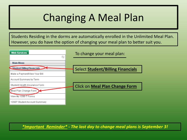 Changing A Meal Plan